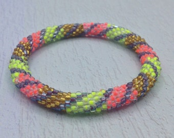 Multicolor Nepal roll on Bracelet. Glass seed bead roll on bracelet. Neon.