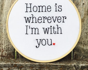 Embroidered Home Hoop - Home Hoop Sign - Embroidered Hoop Decor - Home Is Where Hoop - Home Is Where Sign - Housewarming Gift - Heart Sign