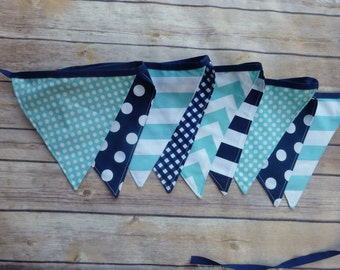 Navy Blue and Aqua Banner, Birthday Party Decoration, Bunting, Fabric Banner, Flags, Photography Prop, Garland , Chevron, Dots