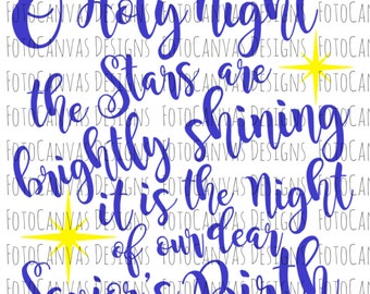 O Holy Night SVG File, Silhouette Cameo, Cricut, Cutting Files, Cutting Machine, Merry Christmas, Happy Holidays, Season, Christmas SVG File