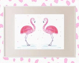 Flamingo // 'Flaming Flamingo' Pink Framed Print // Wall Art // Girls Room