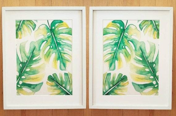 Monstera Leaf Print Watercolour Painting Green Leaf