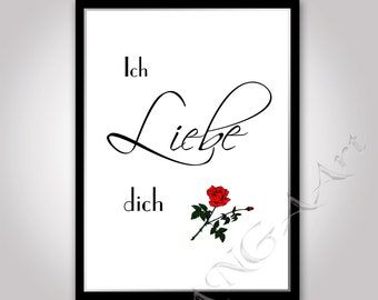 Ich Liebe Dich I Love you Instant download Liebe dich poster Love print Love poster Love card Liebe dich Love you poster format A4 / A5
