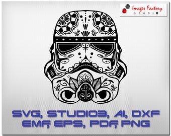 Stormtrooper - mandala Cricut Design Space, Silhouette Digital Cut Files, Instant Download, svg dxf studio3 emf  Star Wars empire Zentangle