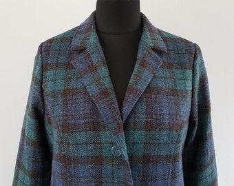 Blue/Green tartan blazer-style wool jacket