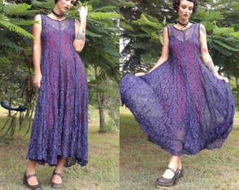 Sheer flared floral lace dark purple 90s 80s 70s tank mediaeval pagan witchy gothic goth maxi dress panelled grunge pixie festival 30s 40s
