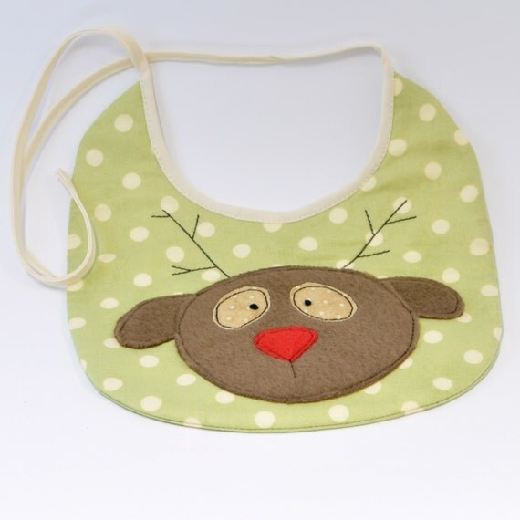 Christmas baby bib, applique bib, cute baby bib, baby gift, Christmas baby outfit, Rudolph the red nosed reindeer bib, Xmas baby bib