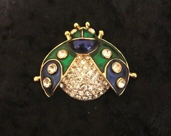 Vintage Blue Green Enamel and Rhinestone Ladybug Brooch