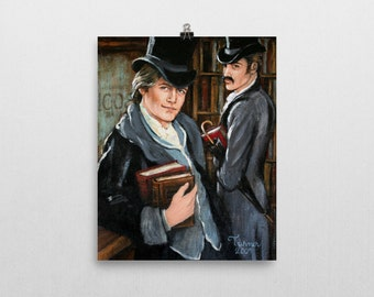 Gay Professor and Student~Fine Art Print by Artist CE Turner~Gay Interest~ 2 Sizes