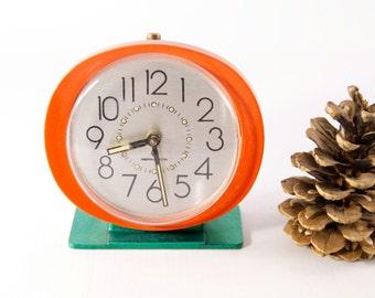 Vintage alarm clock, old alarm clock, red green mechanical clock, wind up alarm clock, 1970 clock, red alarm clock, green alarm clock