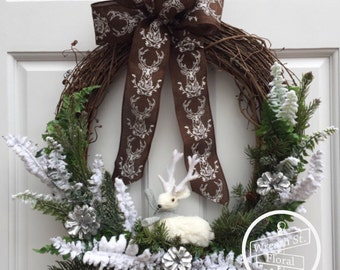 Winter Wreath, Deer Wreath, Greenery Wreath, White Wreath, Wreath Street Floral, Grapevine Wreath, Wreath, Antler Wreath