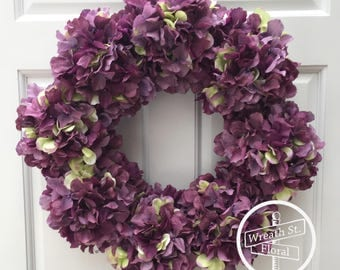 Hydrangea Wreath, Purple Wreath, Spring Wreath, Summer Wreath, Grapevine Wreath, Wreath Street Floral, Front Door Wreath, Everyday Wreath