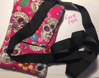 Pink Sugar Skull body cross over bag, suits iPad mini or e-reader or general use!