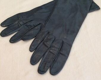 Vintage Dark Steel Gray Leather Gloves, Size 7