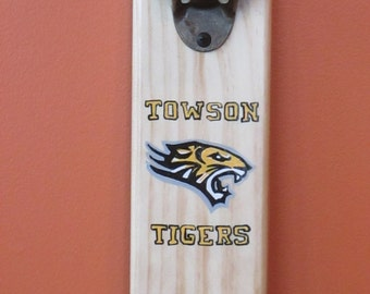 Towson University Towson Tigers  Wooden Bottle opener with magnetic cap catcher bottle cap catching opener