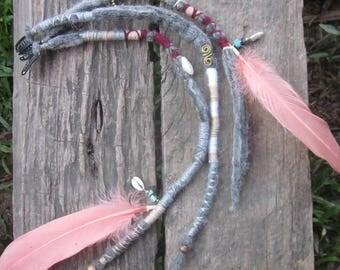 Grey felted dreadlocks, woolen clip in dreads, dread wraps, hair extensions