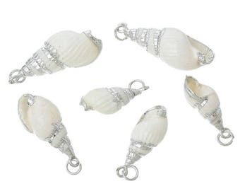 Natural Sea Shell Pendant, White with Silver Sea Shell Pendant, Jewelry Making