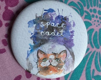 Space Out cat badge/button
