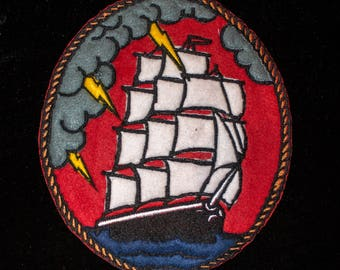 SAILING SHIP/VELIERO Tattoo old school Back Patch