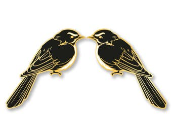 Willie Wagtail Hard Enamel Pin - Black, White, and Gold - Lapel Pin Cloisonné Badge