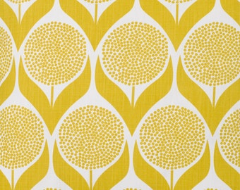 Yellow Fabric- Retro Fabric- Lime Yellow- Curtain Fabric- Modern Fabric- Floral Fabric- Geometric Scandinavian Design- Designer Fabric