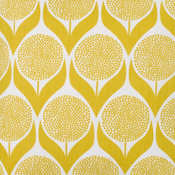 Yellow Fabric- Retro Fabric- Lime Yellow- Curtain Fabric- Modern ...