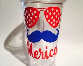 America tumbler, Merica tumbler, red white and blue tumbler, USA, USA tumbler, America