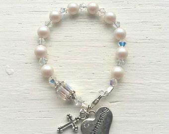 Baptism bracelet- christening bracelet- baptism gift- christening gift- rosary bracelet- baptism keepsake- christening keepsake- baptism