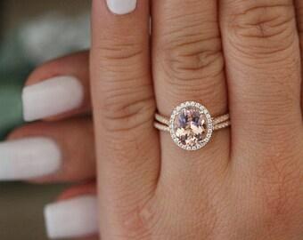 Rose Gold Morganite Ring, Oval 10x8mm Morganite Engagement Ring, Diamond Band, Bridal Ring Set, 14k Rose Gold Morganite Ring, Promise Ring