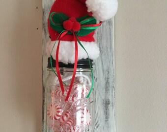 Holiday, Christmas, mason jar, hanging mason jar, santa