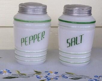 SALE PRICED, Vintage 1940s Milk Glass Salt and Pepper Shakers, Range Size Shakers, Retro Kitchen, Retro Cottage Decor