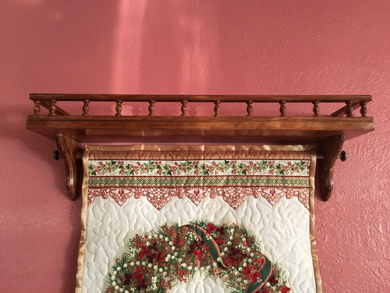 Quilt Hanger Shelf With Rail Wall Hanging Shelf Quilt Hanger