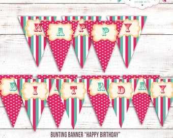 Carnival Happy Birthday Banner - Happy Birthday Banner - Carnival Signs - Instantly Downloadable-Customize kits at no additional cost.