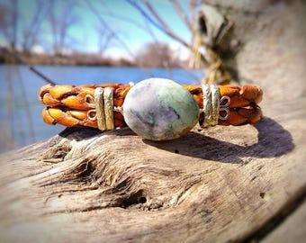 Jadiete jade and leather bracelet