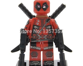 Custom Deadpool Minifig & 2 guns, Mini Figure Fits Lego from trusted UK seller.  Can be used as Minifigure, caketopper or forcrafts