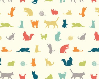 BIRCH ORGANIC KNIT Fabric The Chase Multi 100% Organic Cotton Fabric Birch Organics Multicolor Cats Fabric Farm Fresh Organic Knit Cats