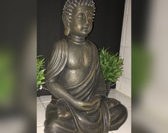 Luxury Large Sitting Buddha Hand Embellished Encrusted Decorated Finished Grade A Eimass® Crystals Bronze Effect Spiritual Statue Ornament