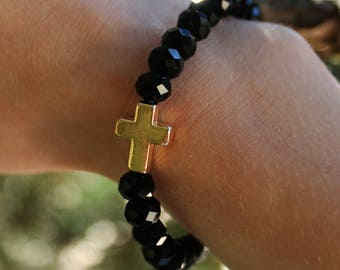 Noire Hand Beaded Crystal Bracelet with Gold Cross accent