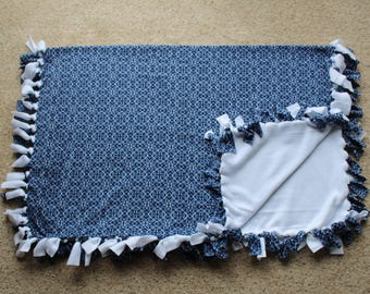 """Blue White Nautical Fleece Tied """"Cozy Cuddler"""" Blanket (Approximately 60 inches x 46 inches)"""