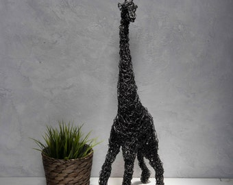 Metal sculpture, Giraffe wire sculpture, Animal sculpture, African art, Anniversary gift, Floor decor, Gift for mom, Steampunk animal
