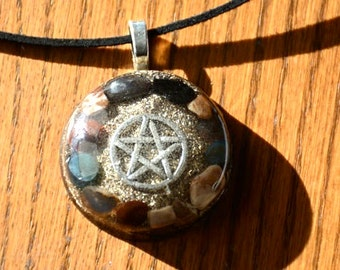 Orgone Pendant Necklace Pentagram Gemstone Crystal Healing Energy Jewelry EMF Protection