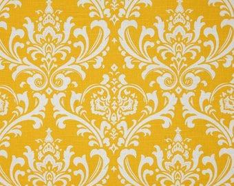 Premier Prints Ozbourne Corn Yellow Slub Damask Fabric by the Yard