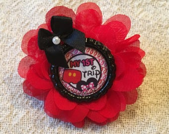 Disney,Minnie Mouse Hair Clip,Minnie,Toddler Hair Clip,Pre-teen Hair Clip,Girls Hair Clip,Hair Clip,Red Flower,Handmade,Handcrafted