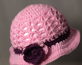 Crochet Baby Sun Hat, light pink  with purple  Flower and Accents
