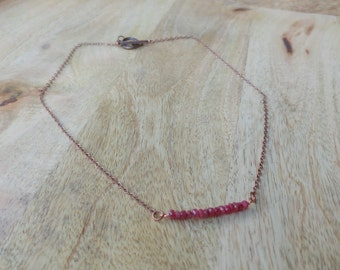 Minimalist Ruby Bar Necklace