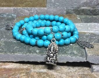 Ganesha Buddha Hamsa bracelet turquoise mala bracelet