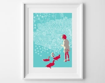 Little Girl with Ducks print – perfect for a little girl's bedroom
