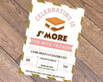 S'more Birthday Invitations DIGITAL DOWNLOAD