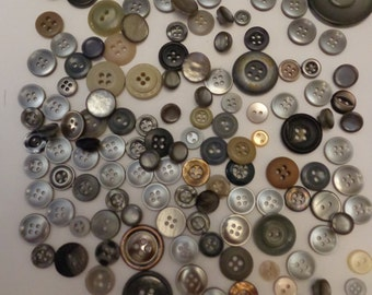 130 Vintage Assorted Buttons Grey Buttons Vintage Buttons Button Store Button Sale