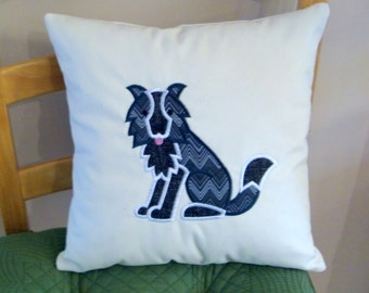 Machine Embroidered with Applique Muslin Border Collie Pillow